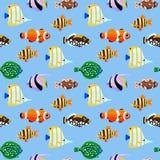 Modelo inconsútil de los peces de mar lindos stock de ilustración