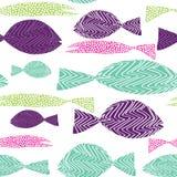 Modelo inconsútil de los pescados Pescados de Colordul con los puntos de la American National Standard de las rayas Ilustración d Imagen de archivo