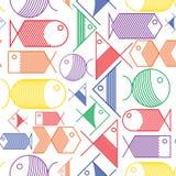 Modelo inconsútil de los pescados coloridos de la historieta Imagenes de archivo