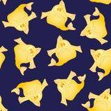 Modelo inconsútil de los pescados divertidos amarillos Fotografía de archivo libre de regalías