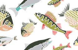 Modelo inconsútil de los pescados frescos Fotos de archivo
