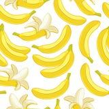 Modelo inconsútil de los plátanos El trópico da fruto fondo Fotografía de archivo