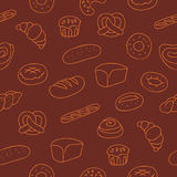 Modelo inconsútil de los productos de la panadería ilustración del vector