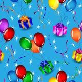 Modelo inconsútil de los regalos y de los globos sobre azul Fotos de archivo libres de regalías