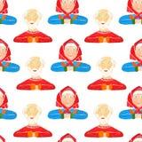 Modelo inconsútil de los retratos de viejos hombres y de mayores de las mujeres en un fondo blanco ilustración del vector