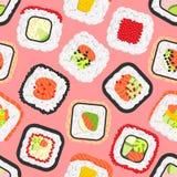 Modelo inconsútil de los rollos de sushi coloreados lindos Imagen de archivo libre de regalías