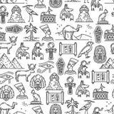 Modelo inconsútil de los símbolos antiguos de la cultura de Egipto stock de ilustración