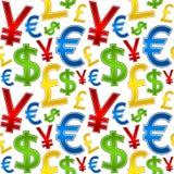 Modelo inconsútil de los símbolos de monedas stock de ilustración
