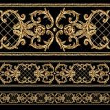 Modelo inconsútil de los segmentos ornamentales de oro barrocos Elementos exhaustos de la frontera del oro de la mano de la acuar libre illustration