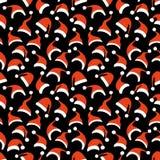 Modelo inconsútil de los sombreros de Papá Noel stock de ilustración