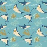Modelo inconsútil de los tiburones enojados del vector de la historieta Fotografía de archivo libre de regalías