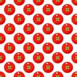Modelo inconsútil de los tomates en estilo plano en un fondo blanco stock de ilustración