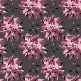 Modelo inconsútil de los triángulos rosados, grises y negros del color Ejemplo del vector en fondo gris Fotos de archivo