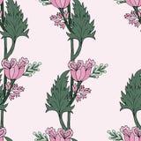 Modelo inconsútil de los tulipanes del rosa Ilustración del vector libre illustration