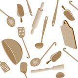 Modelo inconsútil de los utensilios de la cocina Ilustración del Vector