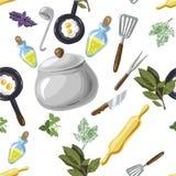 Modelo inconsútil de los utensilios de la cocina Estilo dibujado mano de la historieta del estallido-arte Ilustración del vector Fotos de archivo
