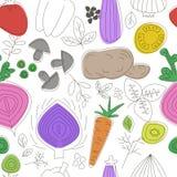 Modelo inconsútil de los vehículos Gráfico linear Fondo de las verduras Estilo escandinavo Modelo sano de la comida Fotografía de archivo libre de regalías