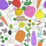 Modelo inconsútil de los vehículos Gráfico linear Fondo de las verduras Estilo escandinavo Modelo sano de la comida Fotos de archivo libres de regalías