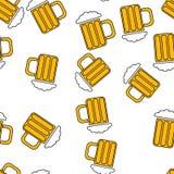 Modelo inconsútil de los vidrios alcohólicos abstractos simples del vidrio de cerveza con las manijas de una cerveza sabrosa fría stock de ilustración