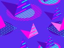 Modelo inconsútil de Memphis Elementos geométricos Memphis en el estilo de 80s Figuras isométricas Grande para los folletos, mate libre illustration