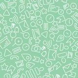 Modelo inconsútil de Minimalistic con los iconos en el tema de la web, Internet, usos, teléfono Vector blanco en una nueva menta libre illustration
