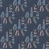 Modelo inconsútil de moda con las plantas, las hojas, las semillas y los conos del bosque Imagen de archivo libre de regalías