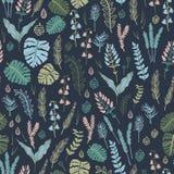 Modelo inconsútil de moda con las plantas, las hojas, las semillas y los conos del bosque Foto de archivo libre de regalías