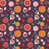 Modelo inconsútil de moda sabroso colorido de las frutas tropicales del vector en fondo oscuro libre illustration
