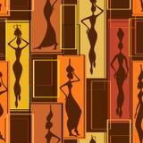 Modelo inconsútil de mujeres africanas stock de ilustración
