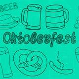 Modelo inconsútil de Oktoberfest Ilustraciones drenadas mano Fotos de archivo