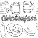 Modelo inconsútil de Oktoberfest Ilustraciones drenadas mano Imagen de archivo