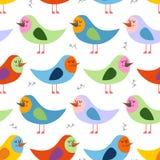 Modelo inconsútil de pájaros coloridos Fondo del vector para la diversión ch Foto de archivo