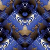 Modelo inconsútil de Paisley 3d Fondo floral azul marino del vector Foto de archivo libre de regalías