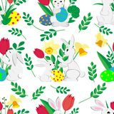 Modelo inconsútil de Pascua con los conejitos lindos, huevos y tulipanes pintados y narcisos de la primavera en el fondo blanco stock de ilustración