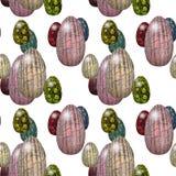 Modelo inconsútil de Pascua con los huevos coriáceos rosados, verdes, rojos y amarillos Fotos de archivo libres de regalías