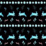 Modelo inconsútil de Pascua de conejos en fondo negro Ilustración de la acuarela ilustración del vector