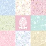 Modelo inconsútil de Pascua de ocho versiones en S en colores pastel Fotografía de archivo libre de regalías