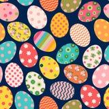Modelo inconsútil de Pascua del vector colorido con los huevos pintados ilustración del vector