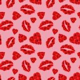 Modelo inconsútil de Poppy Hearts y de los labios en fondo rosado stock de ilustración
