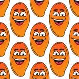 Modelo inconsútil de risa del mango tropical feliz Foto de archivo libre de regalías