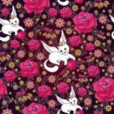 Modelo inconsútil de rosas rojas y de gatos blancos con los corazones Imagen de archivo