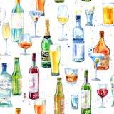 Modelo inconsútil de un champán, de una vodka, de un coñac, de un vino, de una cerveza y de un vidrio ilustración del vector