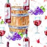 Modelo inconsútil de una botella de vino rojo, de vidrios, de barril de madera y de uvas ilustración del vector