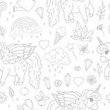 Modelo inconsútil de unicornios lindos, arco iris, nubes, cristales, corazones, esquemas del vector de las flores stock de ilustración