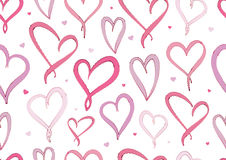 Modelo inconsútil de Violet Hearts del día de tarjetas del día de San Valentín stock de ilustración