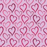 Modelo inconsútil de Violet Hearts del día de tarjetas del día de San Valentín Fotos de archivo