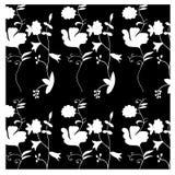 Modelo inconsútil de White&Black con las flores a mano Fotografía de archivo libre de regalías