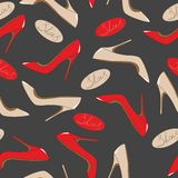 Modelo inconsútil de zapatos de moda brillantes Imágenes de archivo libres de regalías