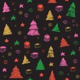 Modelo inconsútil del árbol de navidad Bosquejo gráfico coloreado del vector exhausto de la mano Fondo lindo del doodle stock de ilustración