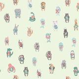 Modelo inconsútil del alfabeto del ` s de los niños con los animales lindos Ilustración del vector stock de ilustración